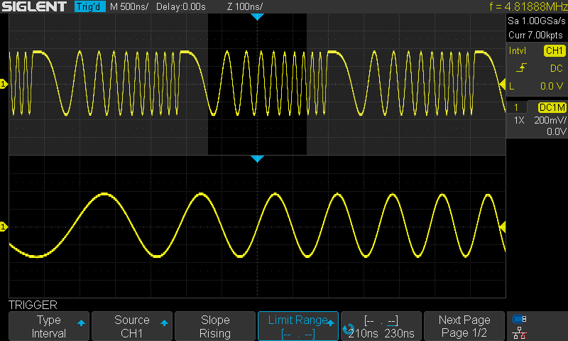 Example Trig to chirp signal using Interval trigger